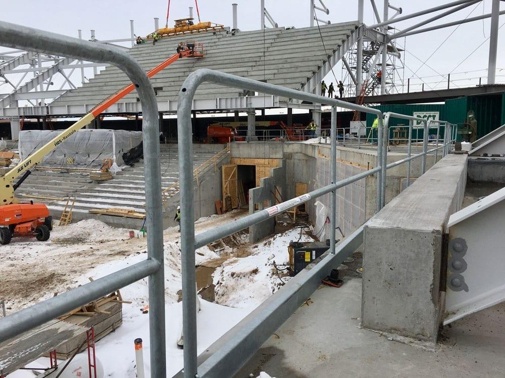 Allianz Hilmerson Safety Rail System at Jobsite
