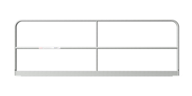 """Safety Rail Panel – 10 ft: 1 ⅝"""" O.D. x Galvanized 13 gauge tube with 11 gage toe board - Guardrail Kits and Applications Hilmerson Safety Rail System™"""