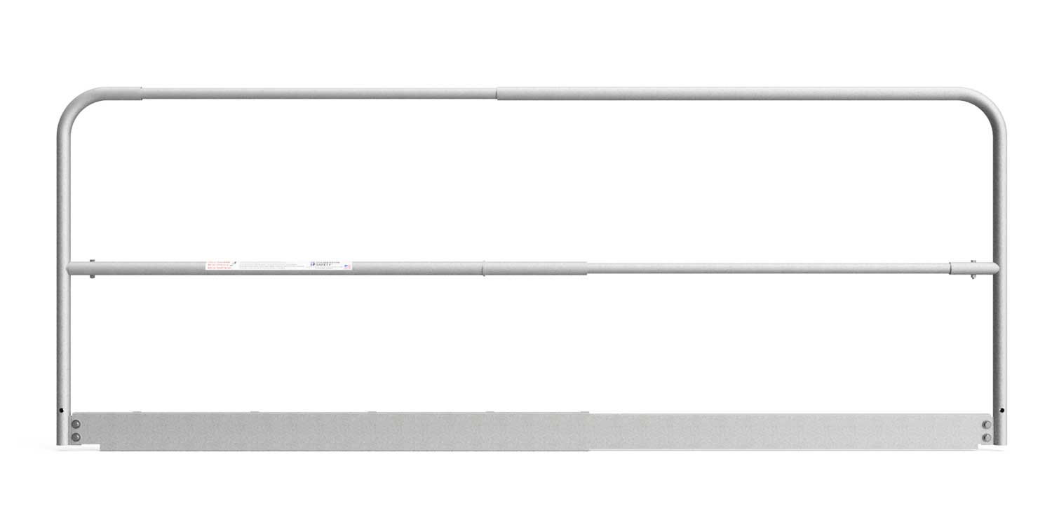 """Safety Rail Panel 5.5ft – 9ft: (Adjustable w/ integrated toe board) 1 ⅝"""" O.D. x Galvanized 13 gauge tube - Guardrail Kits and Applications Hilmerson Safety Rail System™"""