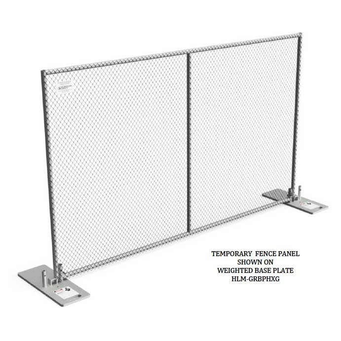 Temporary Fence Panel with Weighted Base Plate
